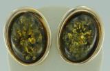 Ohrclips Oval Bernstein grün