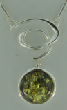 Collier  Medaillon Bernstein grün